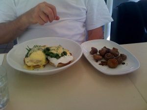 Dad's eggs benedict with lushrooms to share at Garfish, Kirribilli