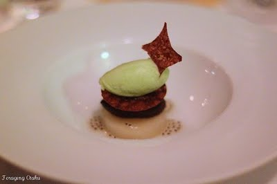 "Foraging Otaku's pic of the ""pear, chocolate, celery sorbet"" dessert dish - our second dessert"
