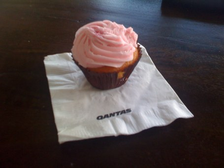 Qantas cupcake - a terrific surprise!