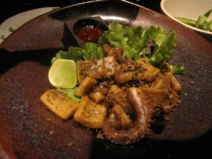 Fried squid with whole five spice and dark chilli paste