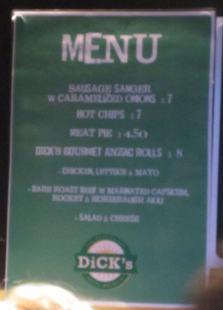 The simple Anzac Day menu @ Dick's Hotel