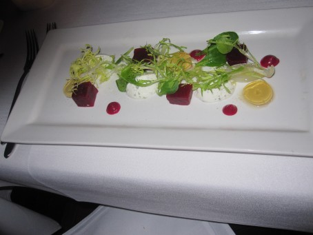 A red salad with cheese