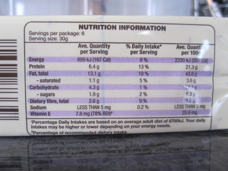Nutritional panel - Aldi's six pack of almonds