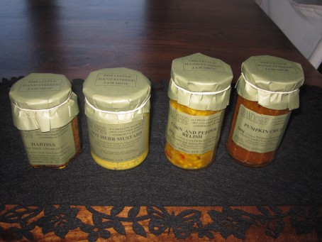 Harissa, mustard, relish and chutney
