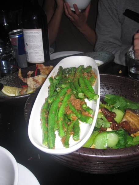 Note how we had to balance these beautiful beans on top of the pork belly to fit them on the table?