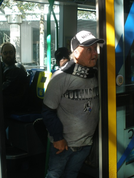 Random Maggies supporter on a Melbourne tram - look out for him on Hey Hey it's Saturday!