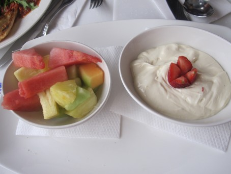 Fruit platter with honeyed yoghurt